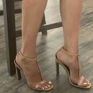 T-strap heels with clear front